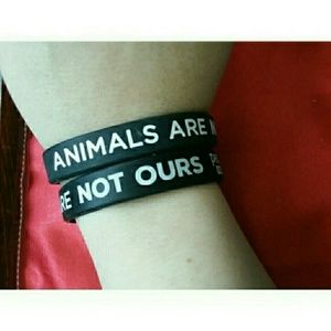 Two Peta2 Animals Are Not Ours Rubber Bracelets